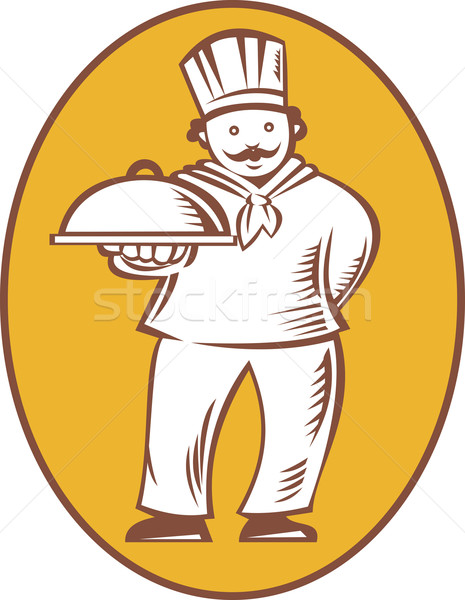Chef Baker Cook With Platter Stock photo © patrimonio
