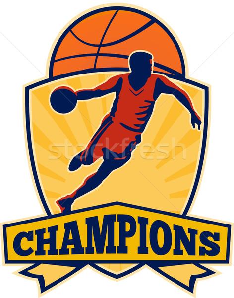 Kosárlabdázó labda pajzs retro illusztráció szavak Stock fotó © patrimonio