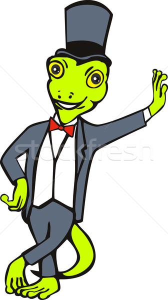 cartoon gecko with top hat bow tie tuxedo standing Stock photo © patrimonio