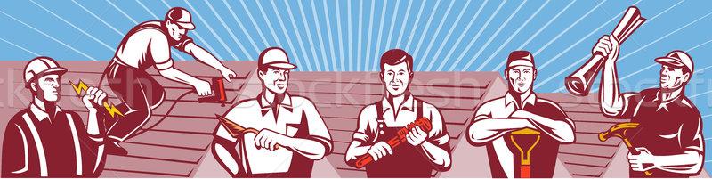 Construction Workers Tradesman Retro Stock photo © patrimonio