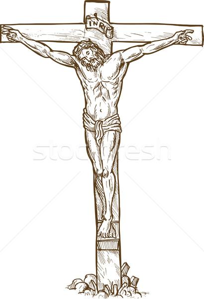 Jezusa Chrystusa wiszący krzyż szkic Zdjęcia stock © patrimonio