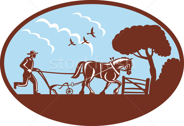 Farmer and horse plowing field farm Stock photo © patrimonio