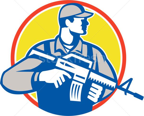 солдата военных нападение винтовка сторона ретро Сток-фото © patrimonio