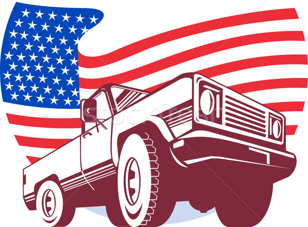 Amerykański ciężarówka banderą gwiazdki grafiki Zdjęcia stock © patrimonio