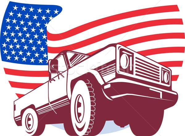 американский грузовика флаг звезды графического дизайна Сток-фото © patrimonio