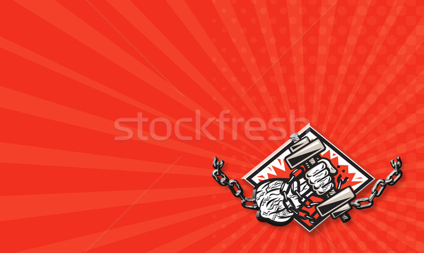 Hand Bursting With Dumbbell In Chains Stock photo © patrimonio