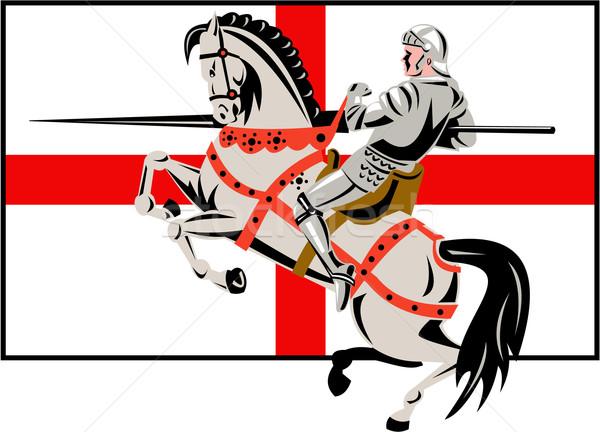 English Knight Lance Horse England Flag Side Retro Stock photo © patrimonio