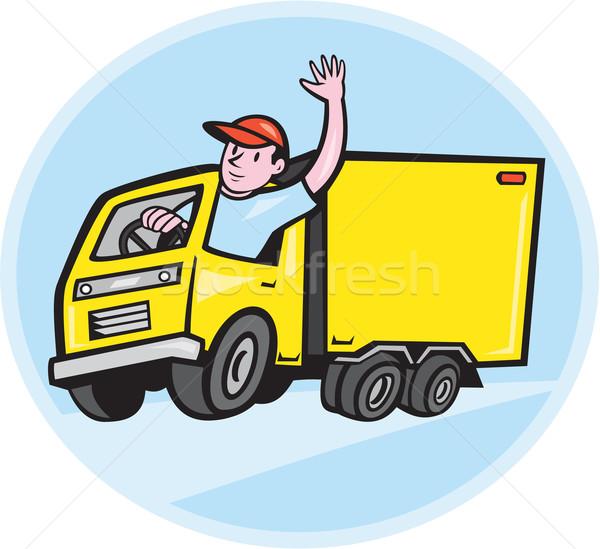 грузовик драйвера Cartoon иллюстрация грузовик Сток-фото © patrimonio