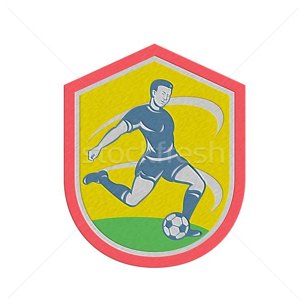 Metallic Soccer Player Kicking Ball Retro Stock photo © patrimonio