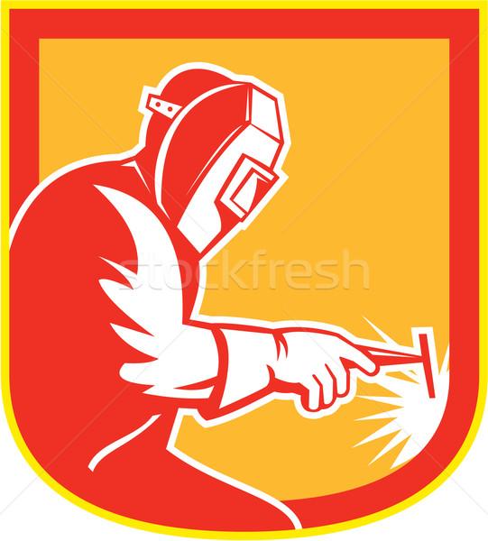 Welder Holding Welding Torch Shield Retro  Stock photo © patrimonio