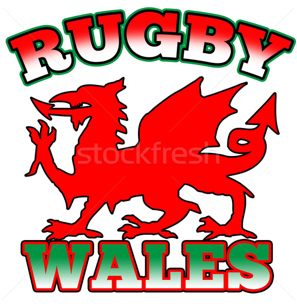 Rugby Wales Flag Dragon Stock photo © patrimonio