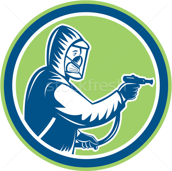 Pest Control Exterminator Spraying Circle Retro Stock photo © patrimonio