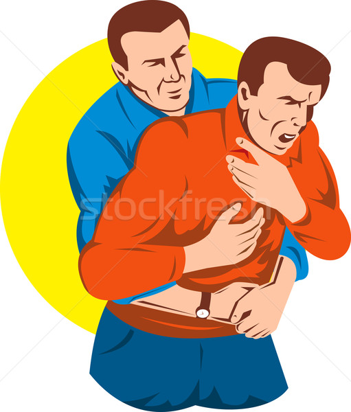 Person performing heimlich maneuver on an adult Stock photo © patrimonio