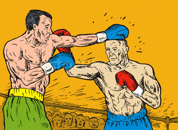 Two boxer match overhead colour Stock photo © patrimonio