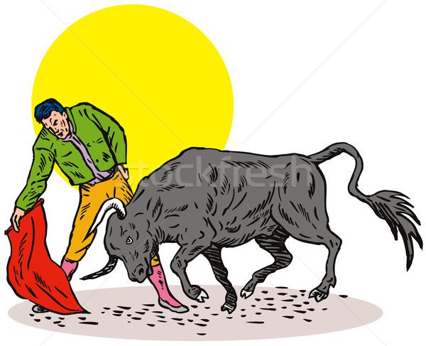Torreádor bika illusztráció piros citromsárga kör Stock fotó © patrimonio