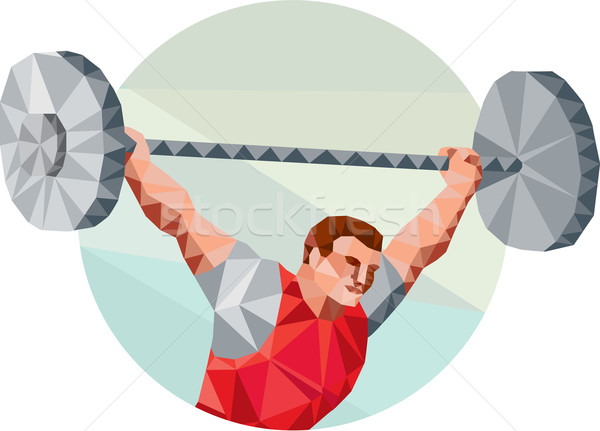 Weightlifter Lifting Barbell Circle Low Polygon Stock photo © patrimonio