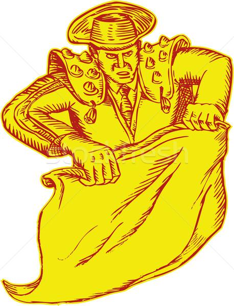 Torreádor vésés kézzel készített stílus illusztráció mutat Stock fotó © patrimonio