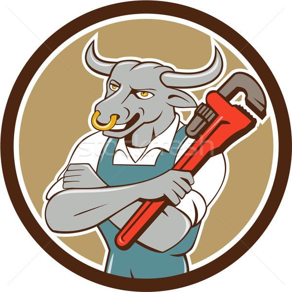 Toro idraulico chiave piedi cerchio cartoon Foto d'archivio © patrimonio