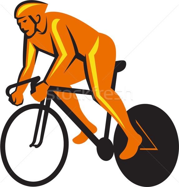 Ciclista equitazione ciclismo Racing retro illustrazione Foto d'archivio © patrimonio