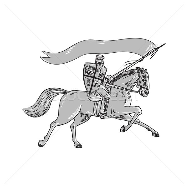Knight Riding Horse Shield Lance Flag Retro Stock photo © patrimonio