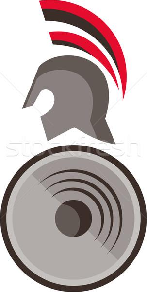 Spartaans krijger helm schild retro illustratie Stockfoto © patrimonio