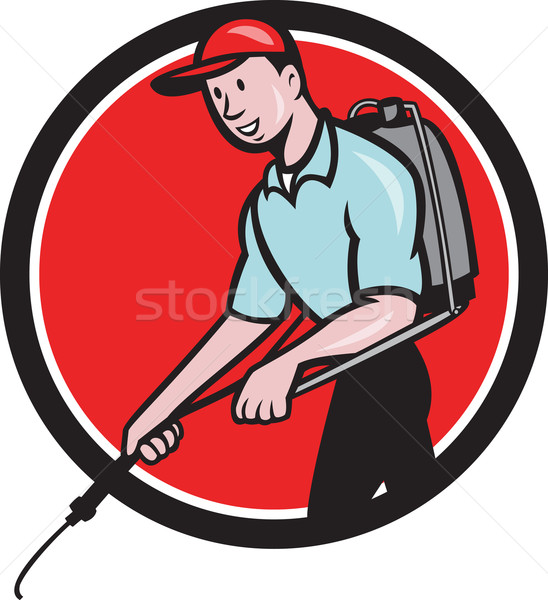 Pest Control Exterminator Spraying Circle Cartoon Stock photo © patrimonio