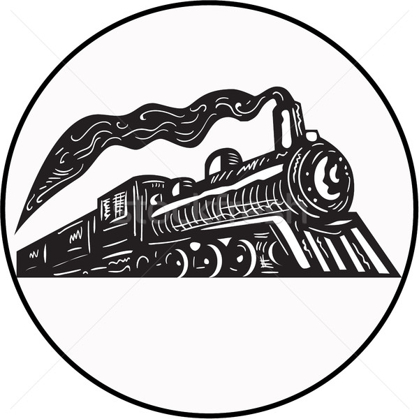 Vapeur train locomotive up cercle illustration Photo stock © patrimonio