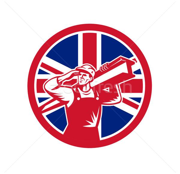 Britannique travailleur de la construction union jack pavillon icône style rétro Photo stock © patrimonio