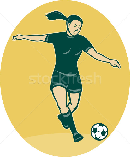 soccer player woman kicking ball Stock photo © patrimonio