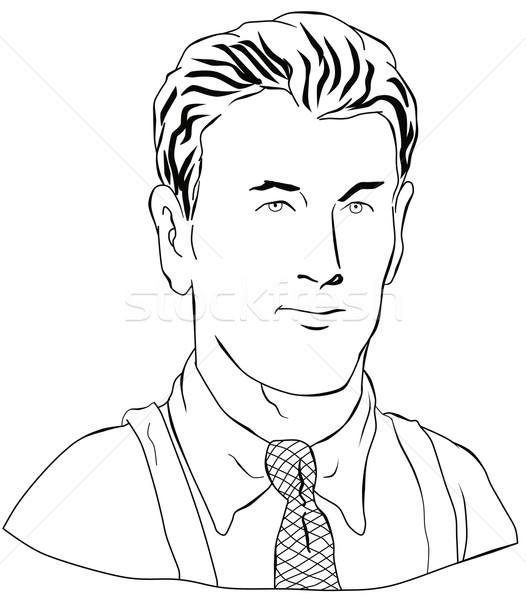 Hombre mirando frente estilo retro retro 1940 Foto stock © patrimonio