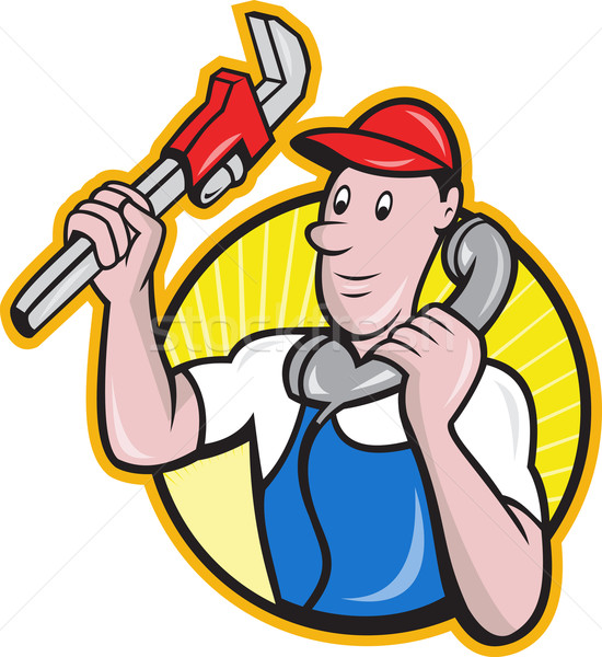 Plumber Worker With Adjustable Wrench Phone Stock photo © patrimonio