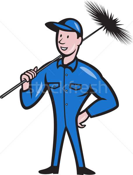 Chimney Sweeper Cleaner Worker Cartoon Stock photo © patrimonio