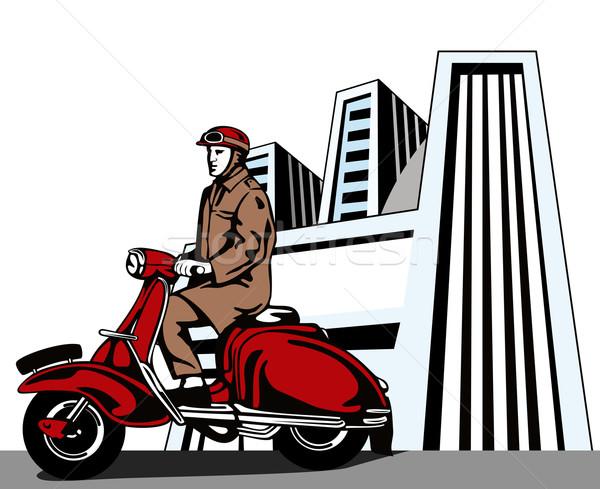 Sürücü vespa örnek motosiklet küçük Bina Stok fotoğraf © patrimonio