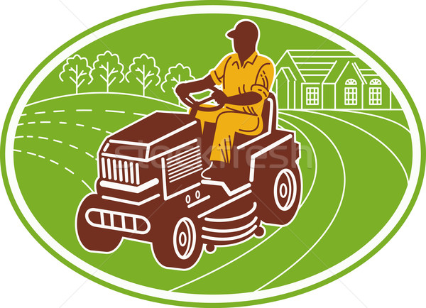 male gardener riding lawn mower Stock photo © patrimonio