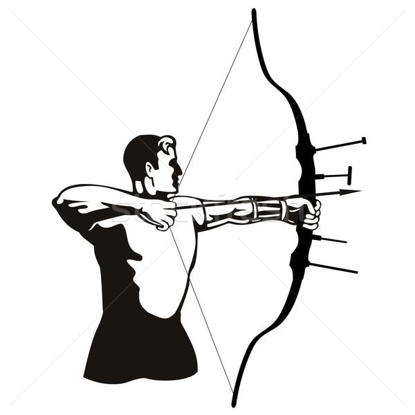 лучник лук стрелка иллюстрация стороны ретро-стиле Сток-фото © patrimonio