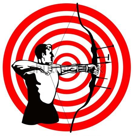 Hunter aiming rifle shotgun bulls eye high angle Stock photo © patrimonio