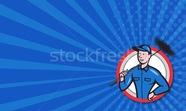Komin czystsze pracownika retro ilustracja Zdjęcia stock © patrimonio