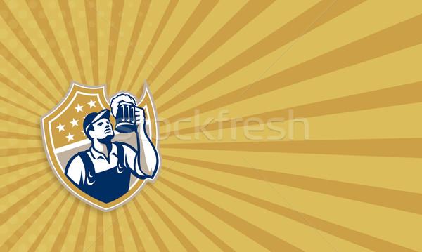 Barman Bartender Beer Mug Retro Stock photo © patrimonio