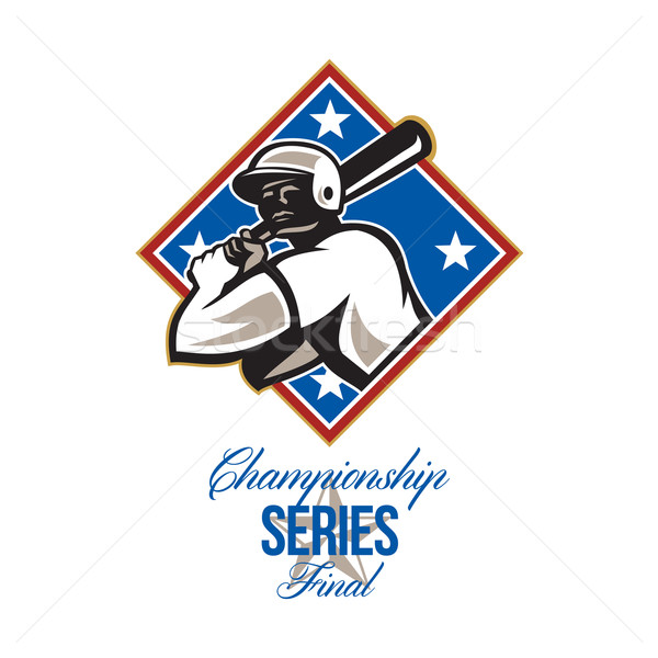 Baseball Meisterschaft Finale Retro Illustration Stock foto © patrimonio