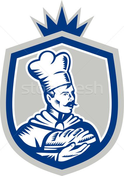 Pék tart kenyér cipó címer illusztráció Stock fotó © patrimonio