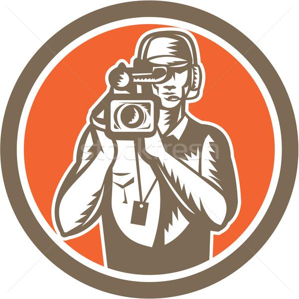 Cameraman Holding Movie Video Camera Circle Stock photo © patrimonio