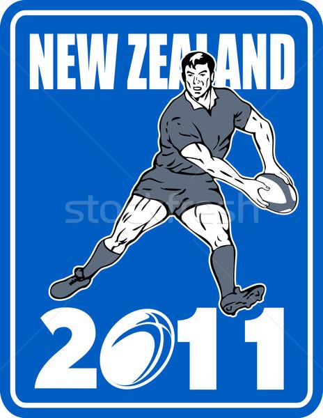 Rugby player passing  ball New Zaland 2011 Stock photo © patrimonio