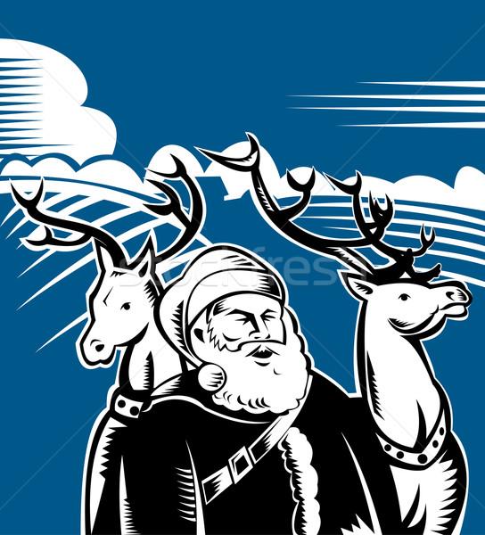 Stockfoto: Kerstman · stand · twee · illustratie · permanente · heuvel
