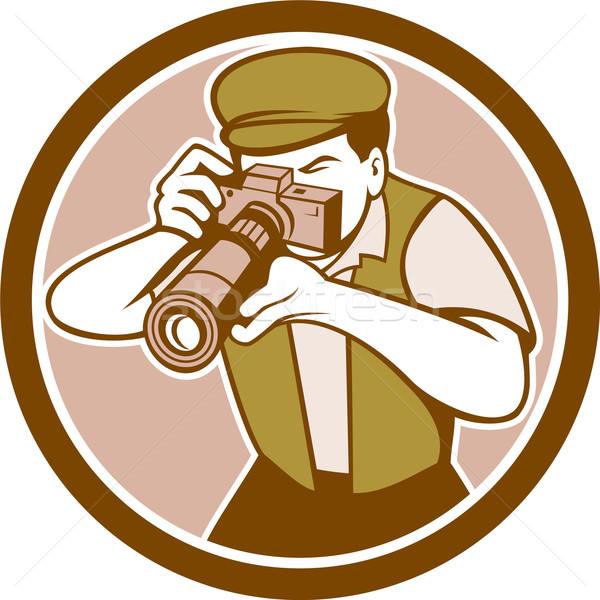 Fotós lövöldözés kamera kör retro illusztráció Stock fotó © patrimonio