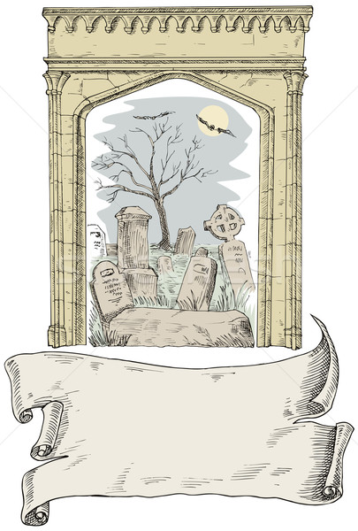 Cemetry arch scroll woodcut and retro style Stock photo © patrimonio