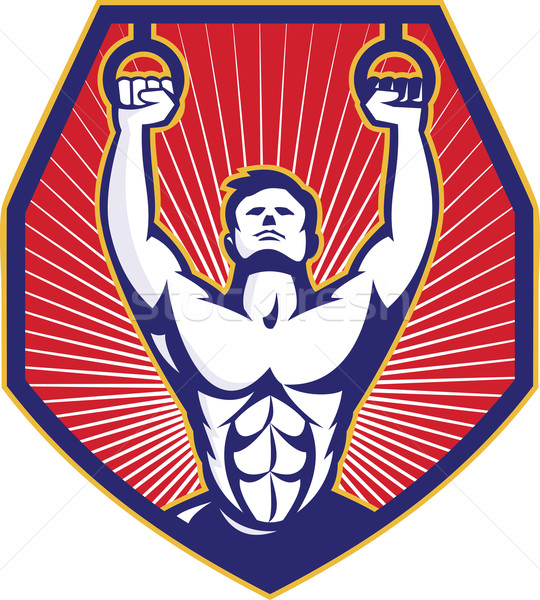 Crossfit Training Athlete Rings Retro Stock photo © patrimonio