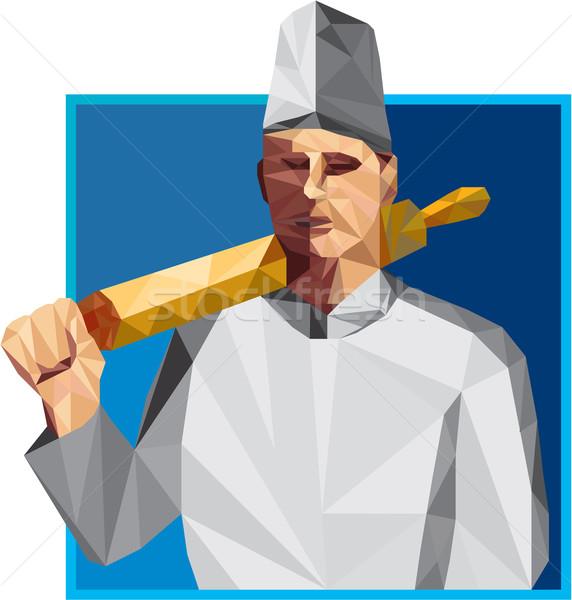 Chef cozinhar pino do rolo baixo polígono estilo Foto stock © patrimonio