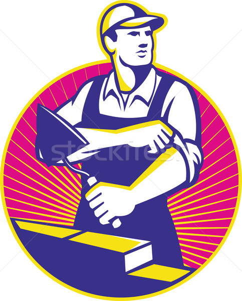 каменщик кирпичная кладка иллюстрация строительство рабочих Сток-фото © patrimonio