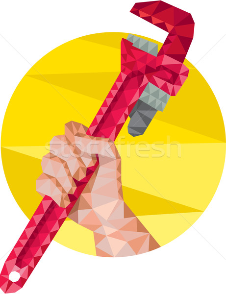 Hand Holding Wrench Circle Low Polygon Stock photo © patrimonio