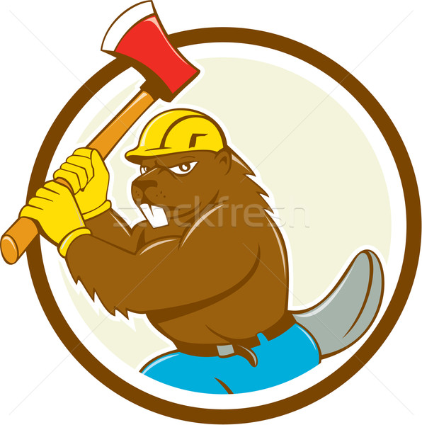 Beaver Lumberjack Wielding Ax Circle Cartoon Stock photo © patrimonio